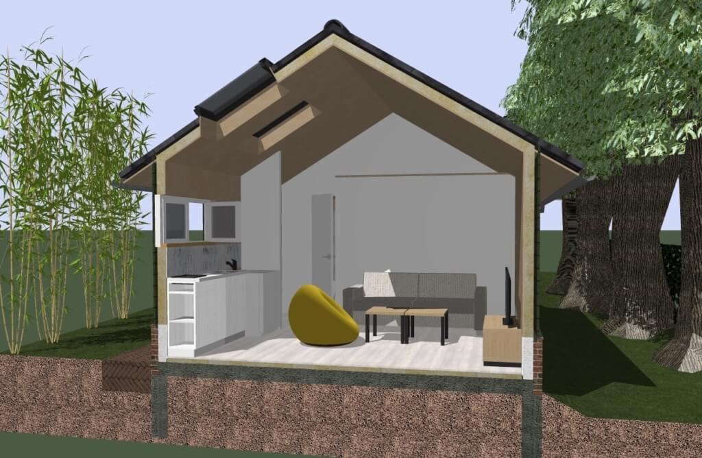 nieuwbouw vakantiehuis all electric architect - 3D doorsnede