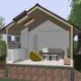 B1architectuur logeerhuis – 3D doorsnede